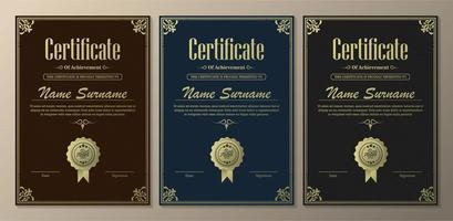 klassiek certificaat van prestatiesjablonen vector