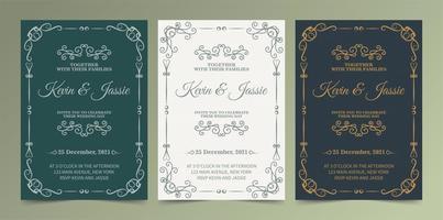 groen, wit en Marine sier bruiloft uitnodigingsset vector
