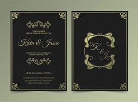 luxe vintage bruiloft uitnodigingskaarten vector