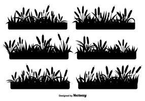 Riet zwarte pictogrammen vector set