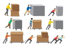 Gratis Man Pushing Boxes vector