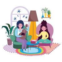 een stel in de woonkamer dat samen muziek speelt