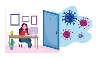 jonge vrouw die vanuit huis werkt tijdens de uitbraak van het coronavirus