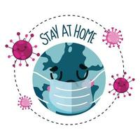 trieste wereld met gezichtsmasker tijdens uitbraakbanner van coronavirus