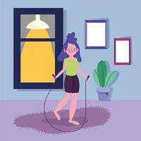 jong meisje springtouw en trainen binnenshuis