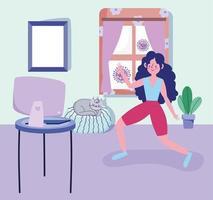 jonge vrouw thuis oefenen
