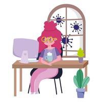 vrouwelijk personage dat vanuit huis werkt tijdens quarantaine