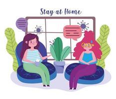 vrouwen praten in de woonkamer tijdens quarantaine