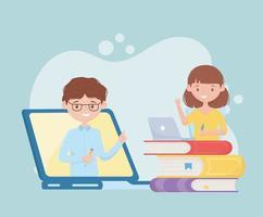 online onderwijs met meisje dat naar een virtuele klas kijkt vector