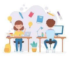 online onderwijs met jongen en meisje die op computer studeren vector