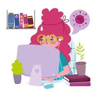 jonge vrouw op de computer vector