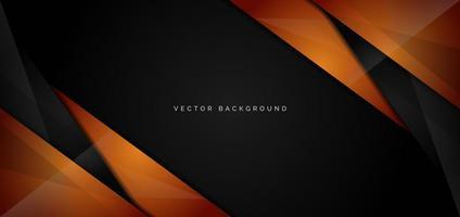 banner van oranje, zwarte glanzende hoeken op zwart