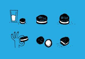 Handdrawn oreo vector set