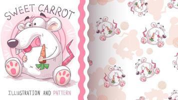 rat met wortelkarakter en naadloos patroon