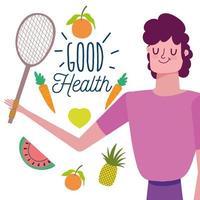 man met gezonde groenten, fruit en racket vector