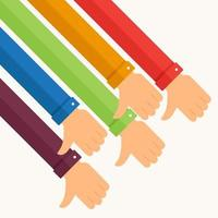 kleurrijke armen die duimen neerzetten, niet leuk vinden