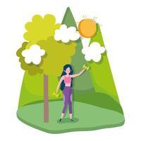 jonge vrouw tillen gewicht buitenshuis geïsoleerd ontwerp