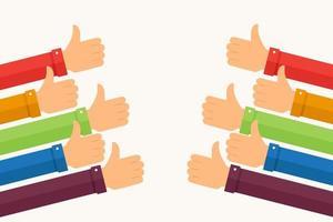 kleurrijke armen die duimen opsteken, zoals vector