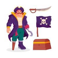 piraat en iconen collectie vector