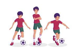jongen voetballen collectie vector