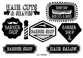 Leuke Handgetekende Barber Shop Labels vector