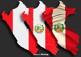 Vectorillustratie Van De Kaart Van Peru Met Vlag vector