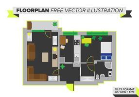 Vloerplan Gratis Vectorillustratie