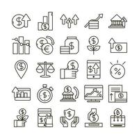 economie en investeringen business icon pack