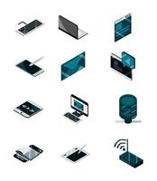 economie en investeringen business line en vul kleur icon pack vector