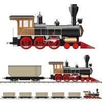 vintage stoomlocomotief en wagons vector