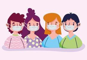 jongeren die een gezichtsmasker dragen vector