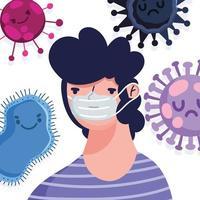 man met een gezichtsmasker op virale achtergrond vector