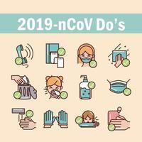 covid-19 preventie lijn en opvulling, gekleurde icoon collectie vector