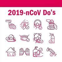 een set pictogrammen voor coronaviruspreventie in verloopstijl