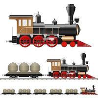 klassieke stoomlocomotief en wagons geïsoleerd vector