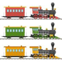 kleurrijke vintage stoomlocomotieven en wagons vector
