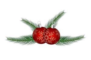 kerst ornament met rode bal vector