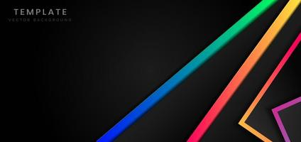 zwarte achtergrond met geometrische vormen en levendige kleuren