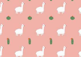 Lama- en Cactuspatroon vector