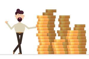 zakenman staat voor een enorme stapel geld