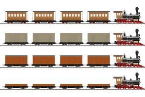 klassieke locomotief en wagons vector