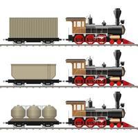 klassieke locomotief en wagen geïsoleerd vector