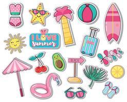 set van zomer pictogrammen palmbladeren, fruit, flamingo vector