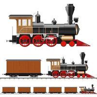 locomotief en wagons vector