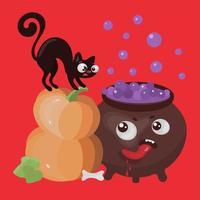halloween katten en pompoen vector