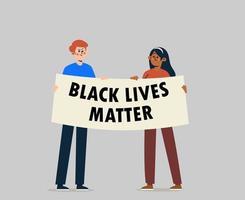 mensen met een streamer en borden die protesteren voor zwarte levens zijn belangrijk voor beweging