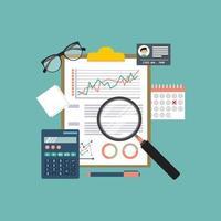 boekhoudkundige items inclusief vergrootglas over klembord vector