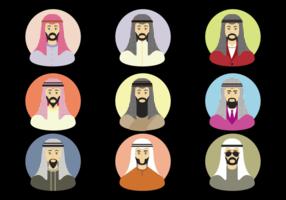 Arabische Mannen Met Keffiyeh Vector