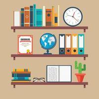drie boekenplanken in plat design