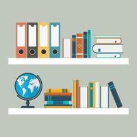 twee witte planken met boeken in vlakke stijl